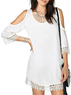White cut out shift dress with lace paneled