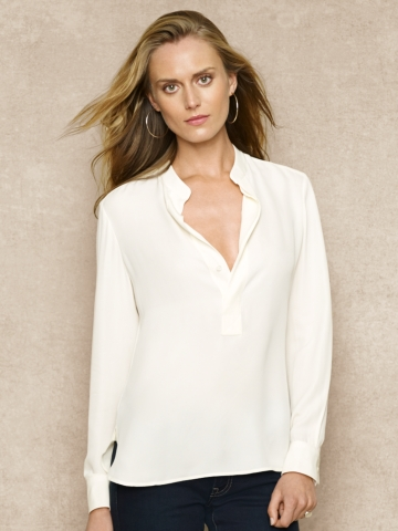 Silk Split-Placket Blouse - Long-Sleeve   Shirts - RalphLauren.com