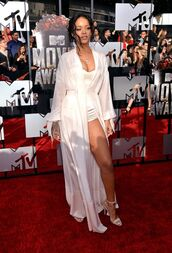 dress,rihanna,red carpet,silk,white,romper,bustier,corset,sexy,transparent