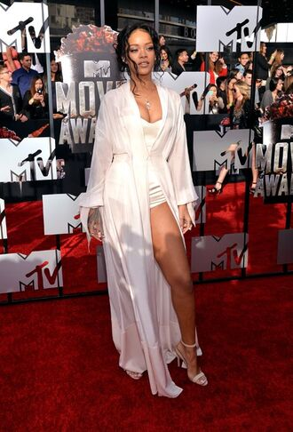 dress rihanna red carpet silk white romper bustier corset sexy transparent
