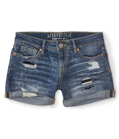 Destroyed medium wash denim midi shorts