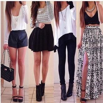 pants black skirt black shorts