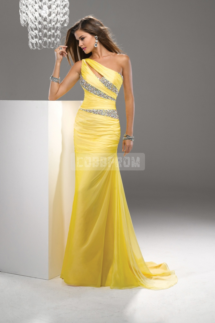 Column long natural waist beaded sleeveless zipper chiffon one shoulder evening dress