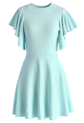 dress,pastel blue knitted skater dress with frilling sleeves,chicwish,blue,skater dress
