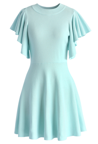 dress pastel blue knitted skater dress with frilling sleeves chicwish blue skater dress