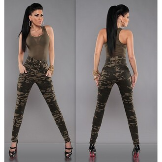 jeans taille haute slim military style leggings pants camouflage camo pants red lime sunday