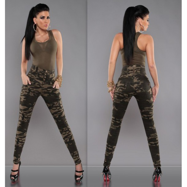 jeans taille haute slim military style leggings pants camouflage camo pants wheretoget. Black Bedroom Furniture Sets. Home Design Ideas