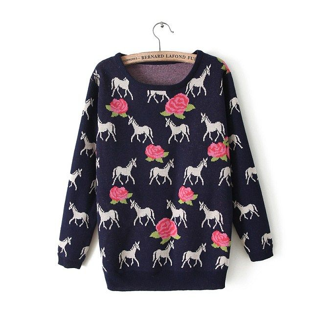 Rose Printed Round Collar Casual Pullover on Luulla