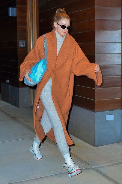 coat sweatpants gigi hadid model off-duty celebrity turtleneck