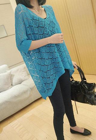 Dig Hem Batwing Loose Fit Mesh Knit Pullover Jumper [ghyxh36157] on Luulla