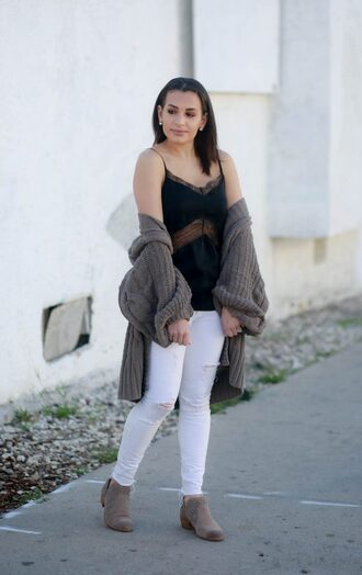 hashtagfablife blogger cardigan tank top jeans shoes bag camisole ankle boots white pants winter outfits