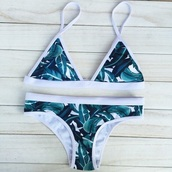 swimwear,white,green,tropical,palm tree print,leaves,triangle,bikini,blue leaves,green leaves,tumblr,black,nike,floral,adidas,print,triangl,blue,leaf print,bikini top,bikini bottoms,summer,beach,swimwear two piece,leaf bikini,chill,minimalist,cute,green swimwear,triangle bikini