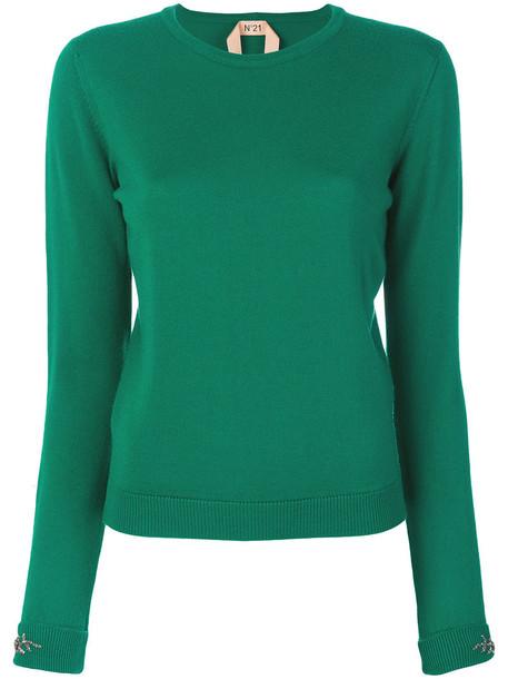 No21 jumper women embellished wool green sweater