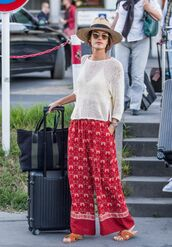 bag,alessandra ambrosio,hat,wide-leg pants,sunglasses,white blouse,slippers,suitcase,summer outfits,summer,pants,see through