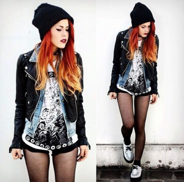 jacket jeans grunge punk leather jacket shoes