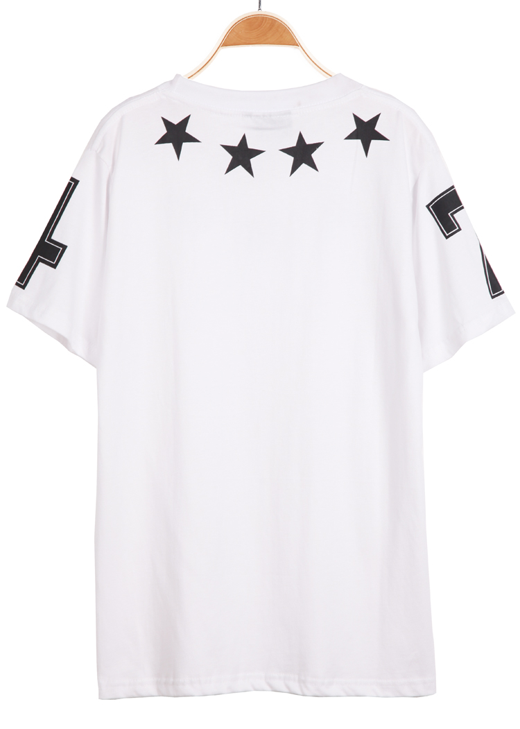 White Short Sleeve Five Stars Print T-Shirt - Sheinside.com