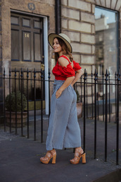 top,hat,tumblr,red top,off the shoulder,off the shoulder top,crop tops,pants,sandals,sandal heels,high heel sandals,sun hat