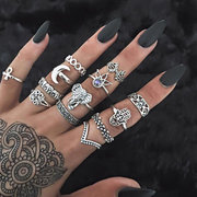 Cheap best 13 Pcs Bohemian Statement Ring Set Vintage Hollow Elephant Palm Lotus Rhinestone Rings for Women - NewChic
