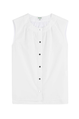 blouse sleeveless cotton white top