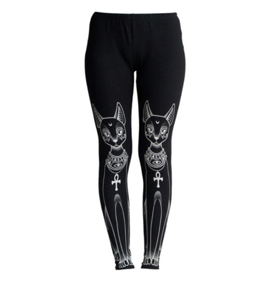 leggings black leggings cats meow egyptian cats egyptian stype egyptian cat cross