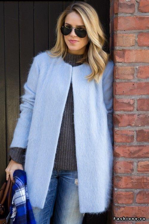 Zara sky blue mohair wool woolen coat jacket blazer size s small