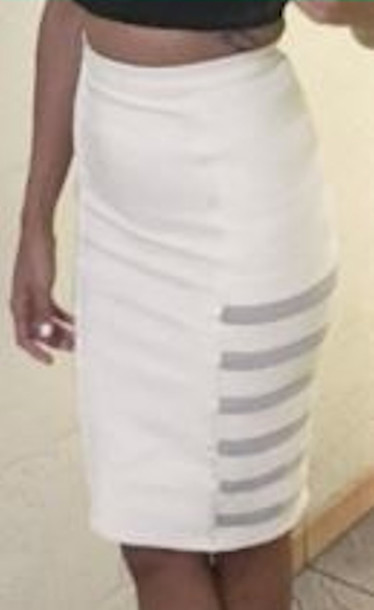 Skirt: white, mesh, pencil skirt, high waisted, midi - Wheretoget