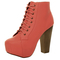 Womens ladies lace up platform wooden block heel booties shoes ankle boots size | ebay