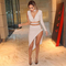 One sleeve asymmetrical slit bandage dress nude