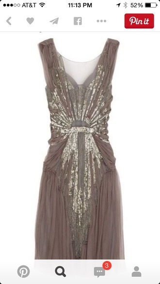 dress taupe 1920s dress vintage dress style sparkly dress