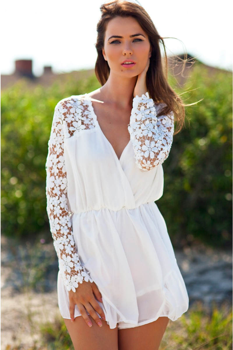 White lace playsuit