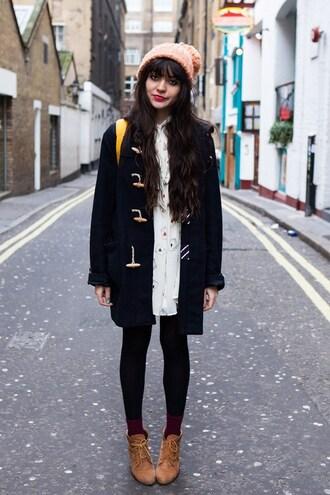 coat clothes duffle coat blue coat shoes