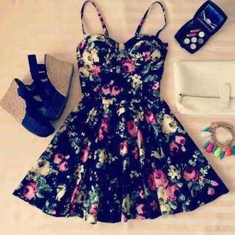dress floral dress floral wedges