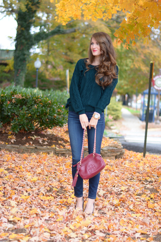 southern curls and pearls blogger jeans jewels make-up top knitted sweater watch red bag