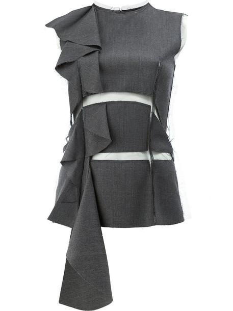 MAISON MARGIELA top ruffle women wool grey