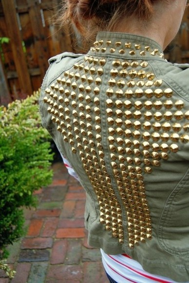 jacket rivets spots spiked denim