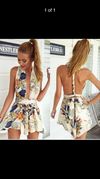 dress tan play suit floral dress floral playsuit