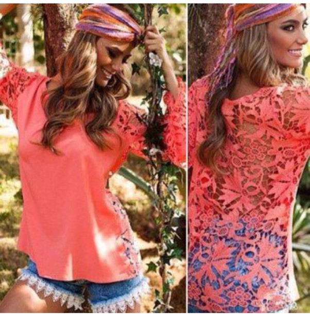 blouse red dress hollow cute dress crochet lace top shirt t-shirt cute summer beautiful fashion floral clothes girly outfit sammydress