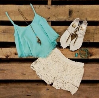 tank top turquoise crotchet shorts crop tops