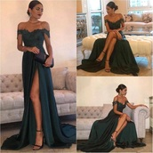 dress,green,prom,lace,off the shoulder,prom dress,dark green,sexy,long dress,slit,slit dress,team 10,elegant,women,green dress,elegant dress,emerald green,satin,a line prom gowns,galla kjole,long gown,maroon prom dress,off the shoulder dress,long prom dress,gown,lace dress,bridesmaid