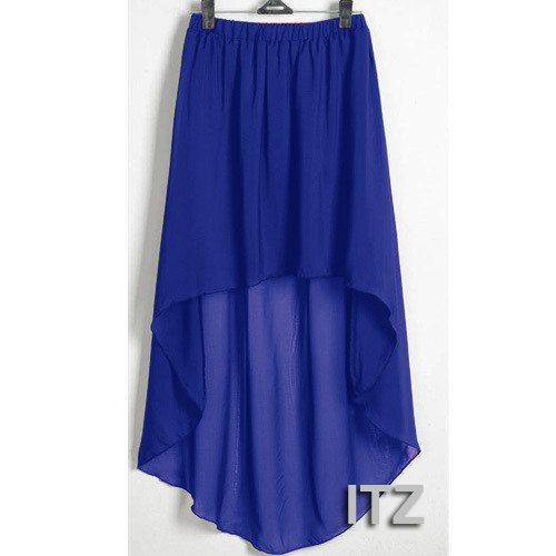 30eccc641a Royal Blue - Women Double Layer Chiffon Pleated Retro Long Asym Dress  Elastic Waist Skirts Girl Maxi ...