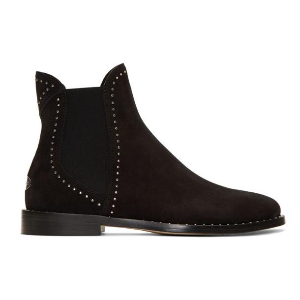 Jimmy Choo Black Suede Merril Flat Chelsea Boots