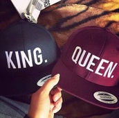 hat,queen,king,king and queen,baseball cap,matching couples,couple,love,mrs.,mr and mrs,mr.,cap,snapback,blue,violet,boyfriend,girlfriend,red,king hat,king queen hats,couples hat,hair accessory,king queen,black with white letters,red black,mens cap,cape