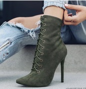 shoes,green booties lace up booties p