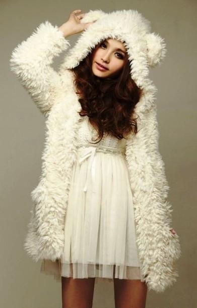 Coat Dress Kawaii Japanese Fashions Style Fur Fluffy Gorgeous Cozy Warm Fabric Jacket