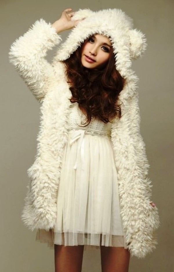coat dress kawaii japanese fashions style fur fluffy gorgeous cozy warm fabric jacket bear ear clothes top fashion cute fuzzy coat fluffy white