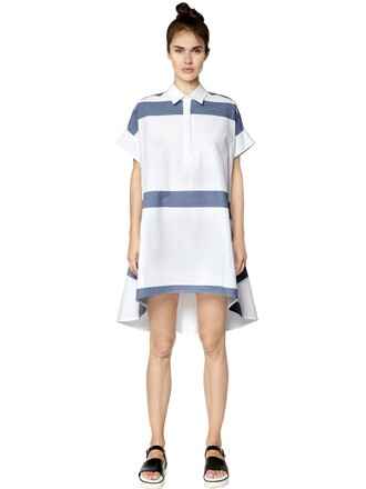 dress shirt dress short cotton white blue