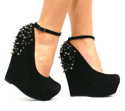 Womens Ladies Black Platform Jewel Spike High Heel Wedge Ankle