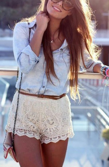 lace shorts cute outfit