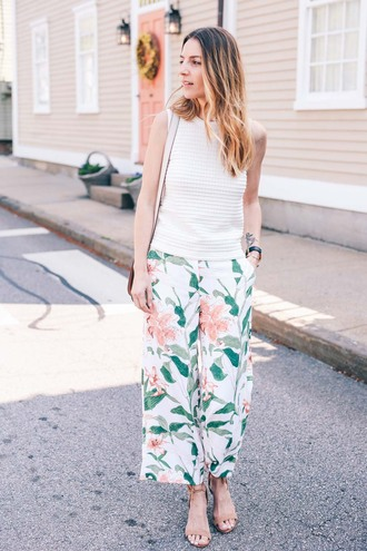 prosecco and plaid blogger pants shoes floral pants floral white top