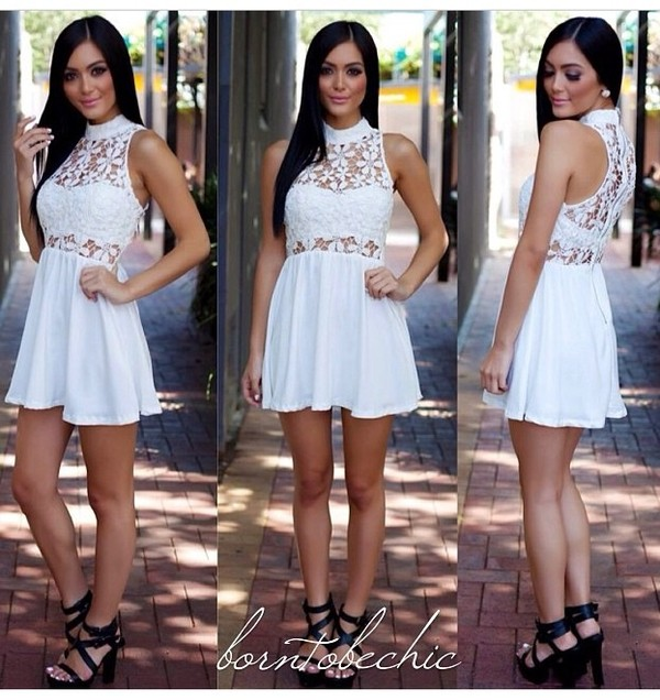dress floral white dress see through